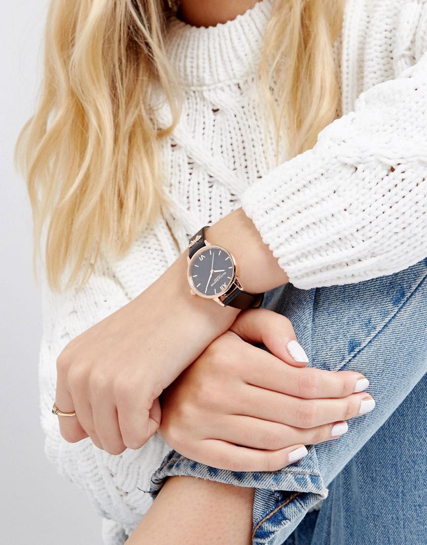 47923237198 Olivia Burton Ob16vb07 Vintage Bow Leather Watch In Black in Black ...