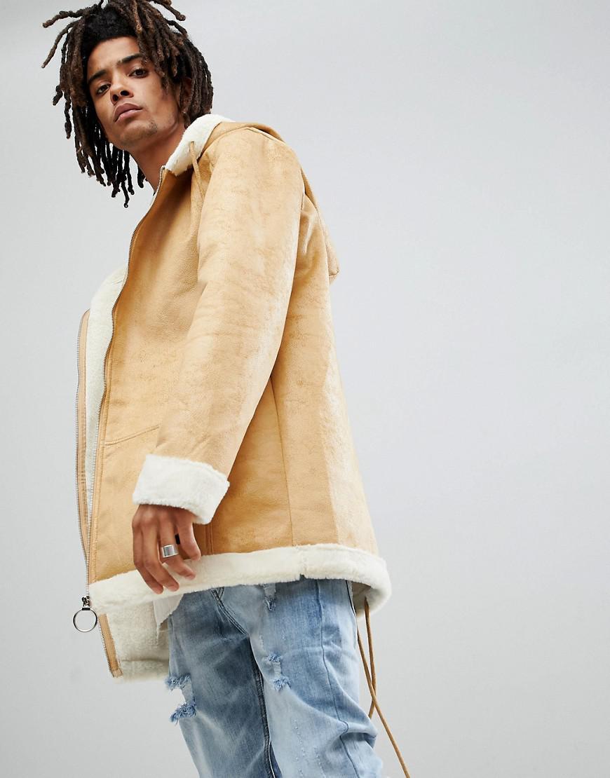 Sixth June faux sheepskin bomber jacket beige