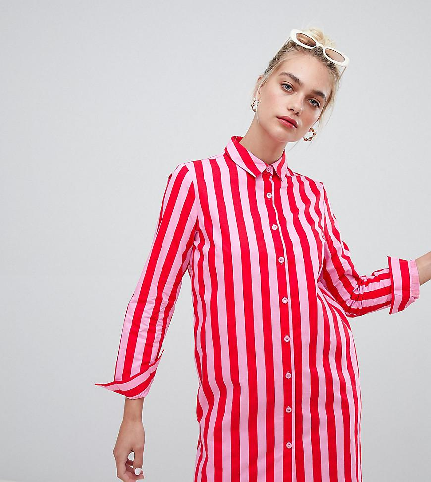 6d4a5c07e9 Daisy Street Pink Oversized Shirt Dress In Bold Stripe