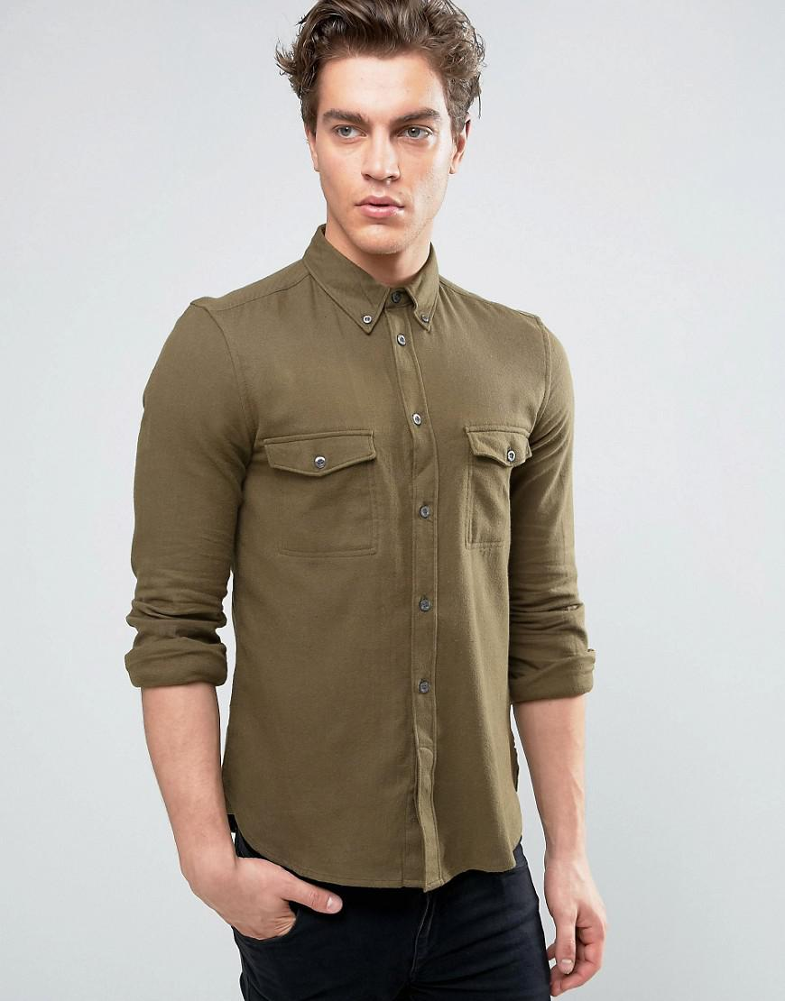 Lyst french connection flannel slim fit shirt with for Women s slim fit flannel shirt