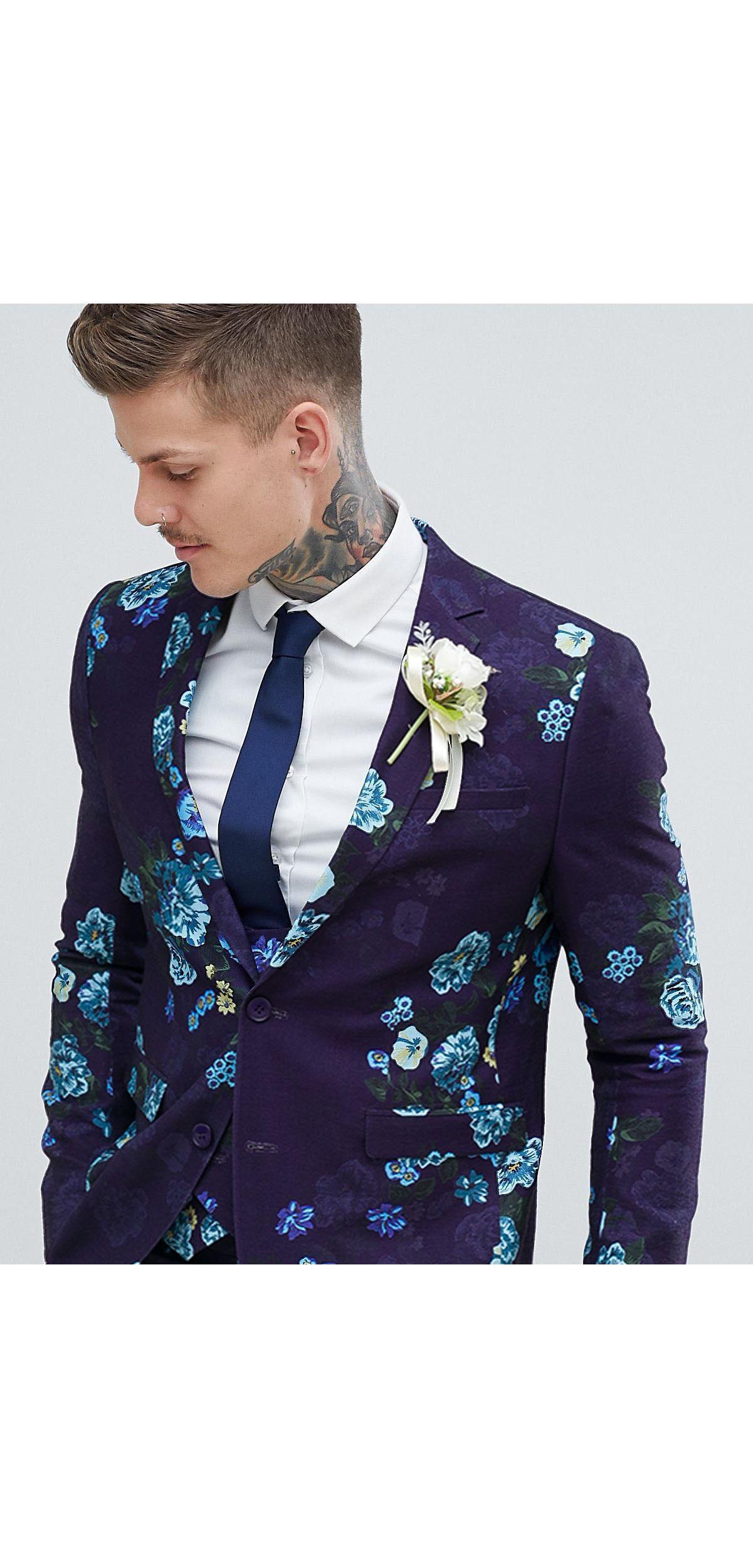 ASOS Linnen Gebloemd Skinny Kostuum Voor Bruiloft Met Linnenlook in het Blauw voor heren