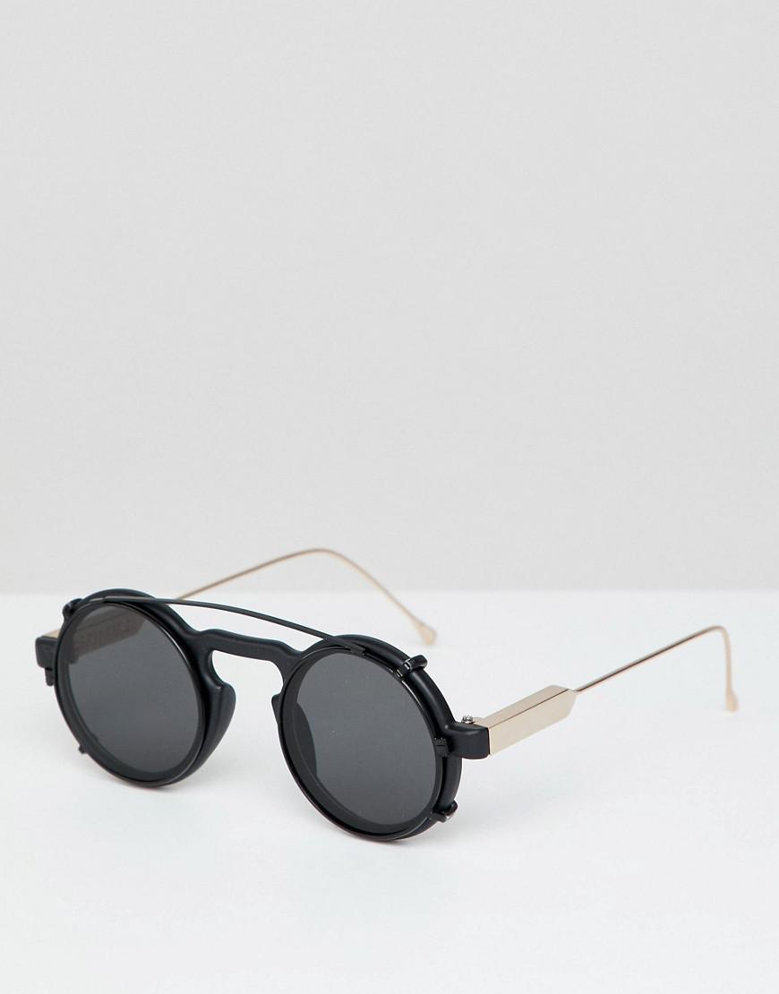 ed3b5679405 Spitfire - Round Clip On Sunglasses In Black for Men - Lyst. View fullscreen