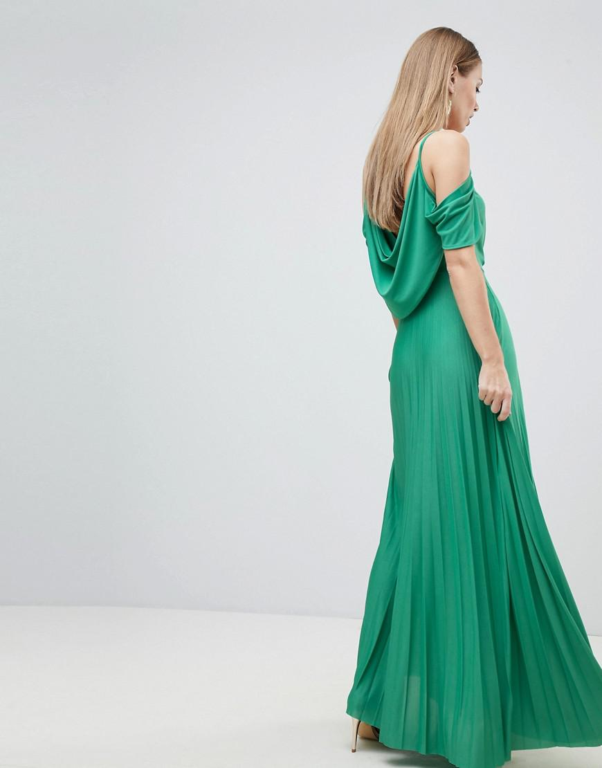 e9c95188eb Lyst - ASOS Cold Shoulder Cowl Back Pleated Maxi Dress in Green