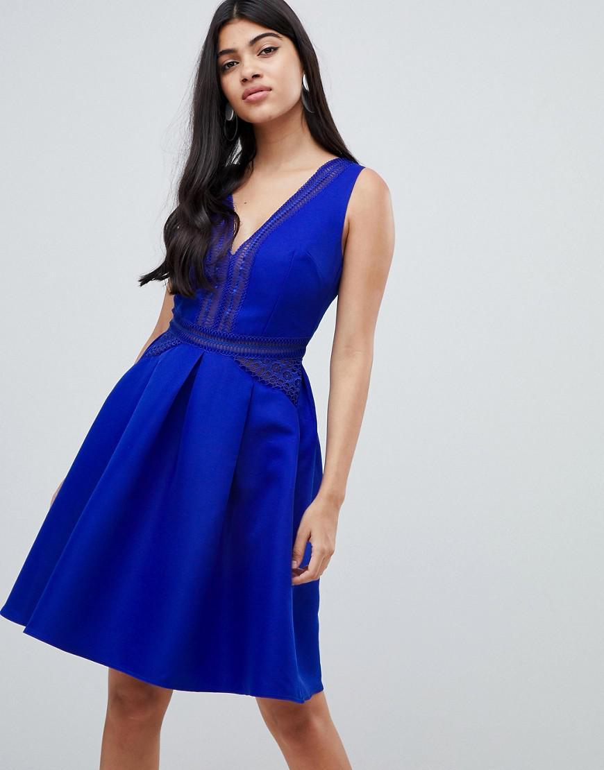 08a0252a2c Little Mistress Full Prom Mini Skater Dress In Cobalt in Blue - Lyst