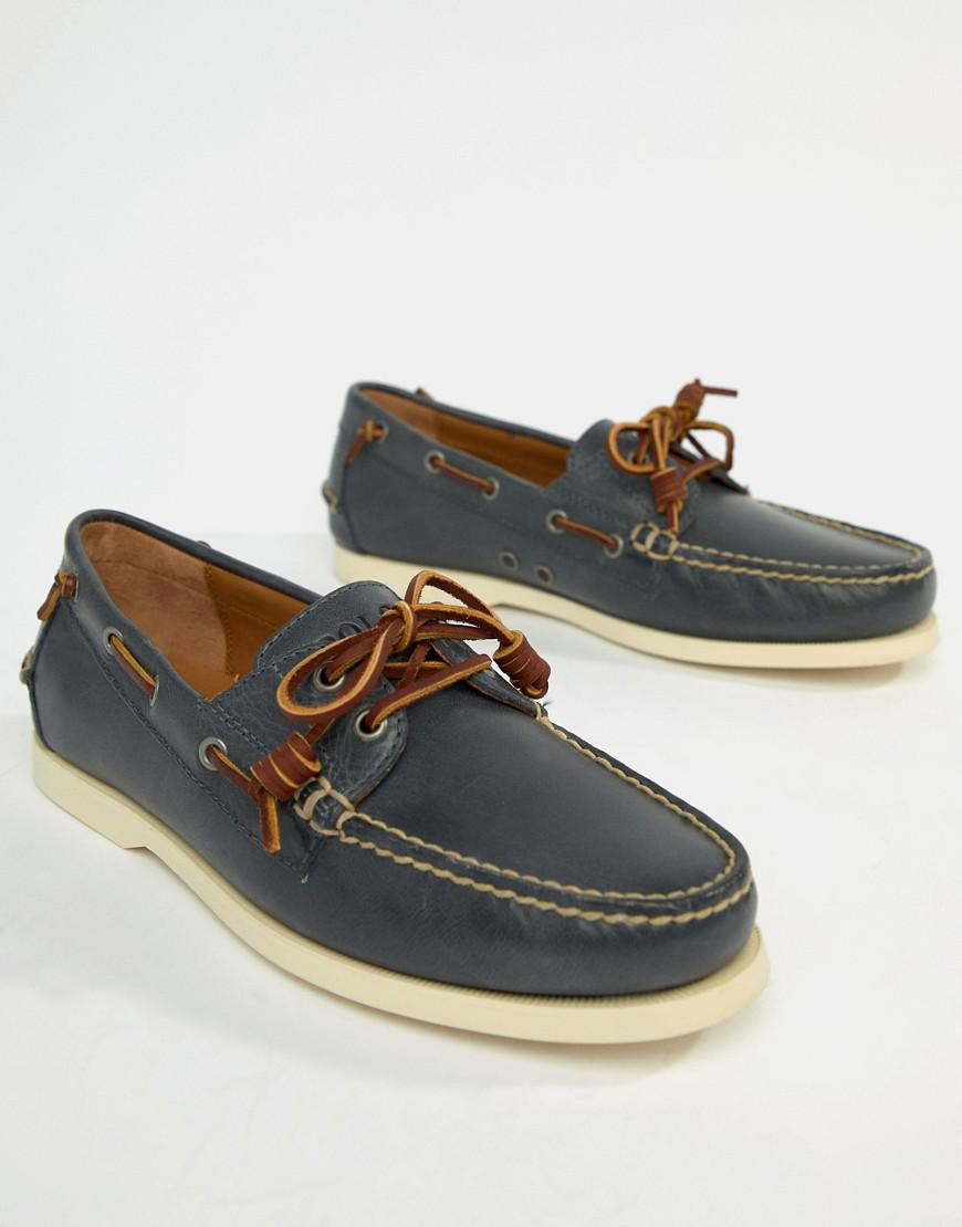 dcbd91ca Polo Ralph Lauren Merton Leather Boat Shoes In Weathered Blue for men