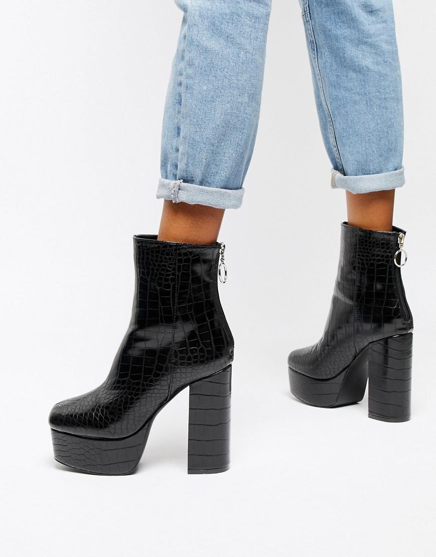 442216735ea9 Public Desire Black Croc Effect Platform Boots in Black - Lyst