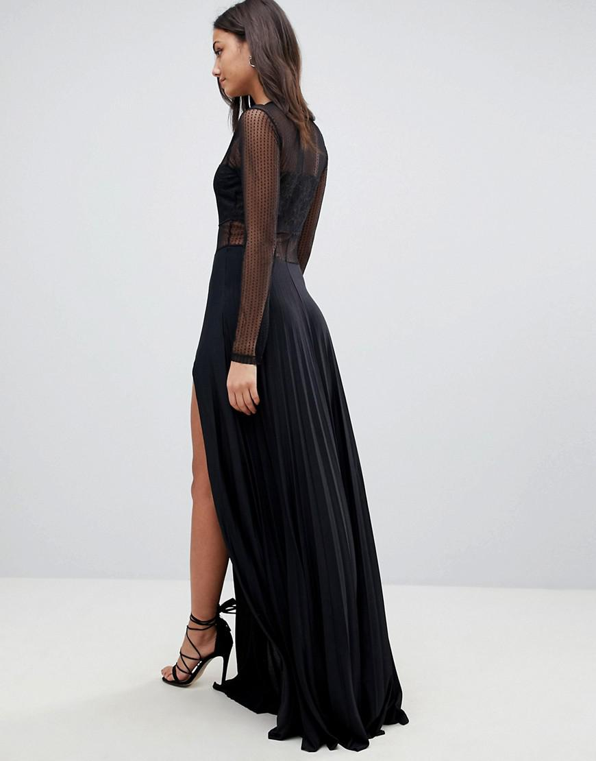5c1c98e07b255 ASOS Pleated Dobby & Lace Top Long Sleeve Maxi Dress in Black - Lyst
