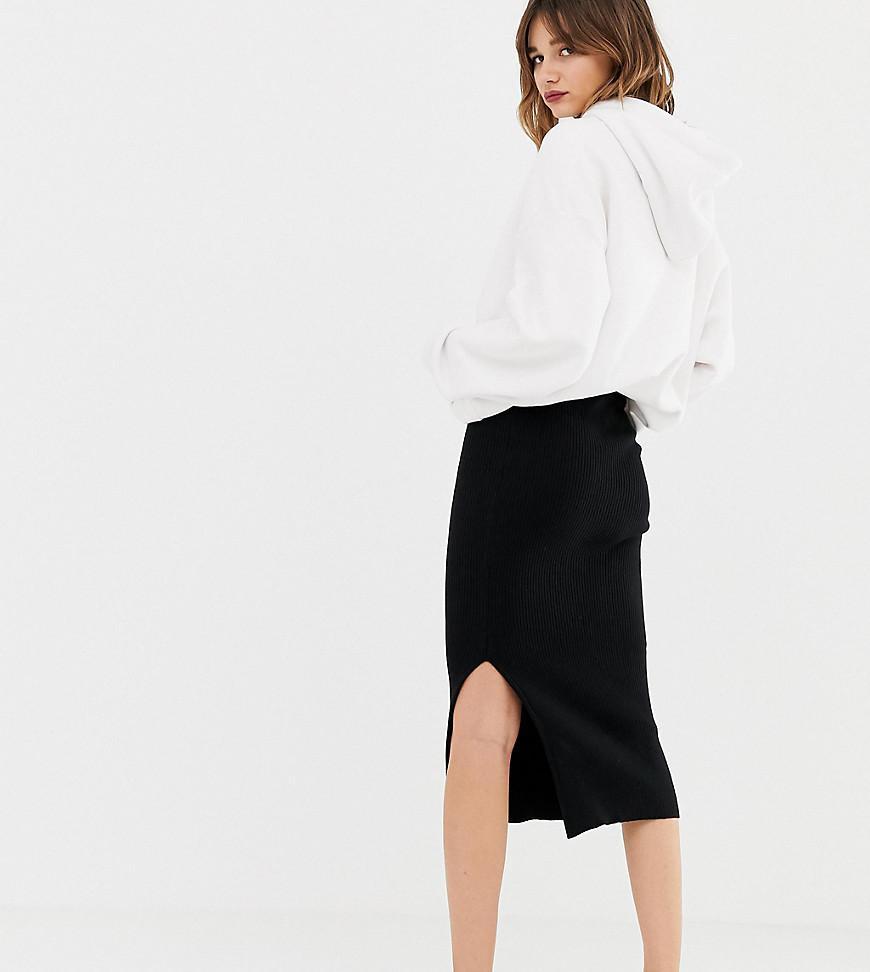 f7d010400f0 Stradivarius Str Knitted Skirt In Black in Black - Lyst