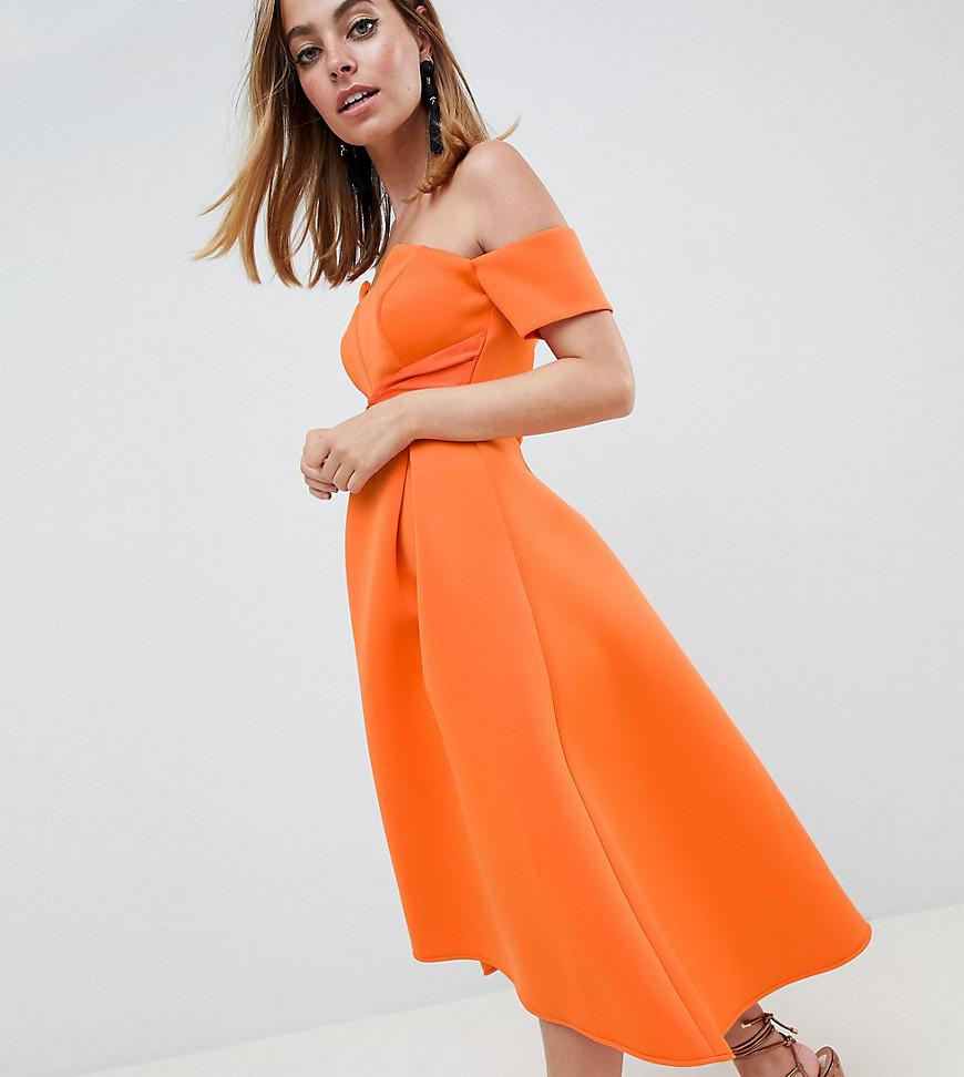 770d3c3bec ASOS. Women's Orange Asos Design Petite Bardot Pleated Waist Scuba Midi  Prom Dress
