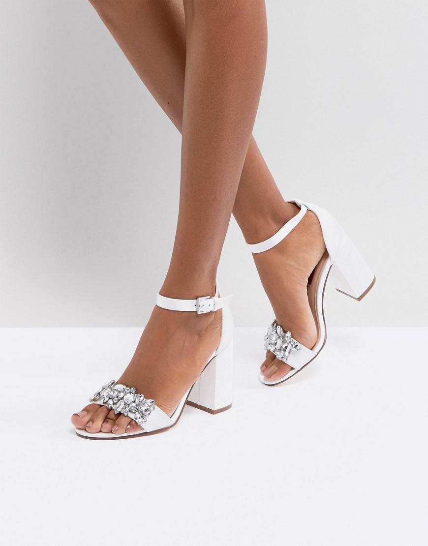 b66ab38b7f2 London Rebel White Bridal Barely There Satin Block Heel Sandal