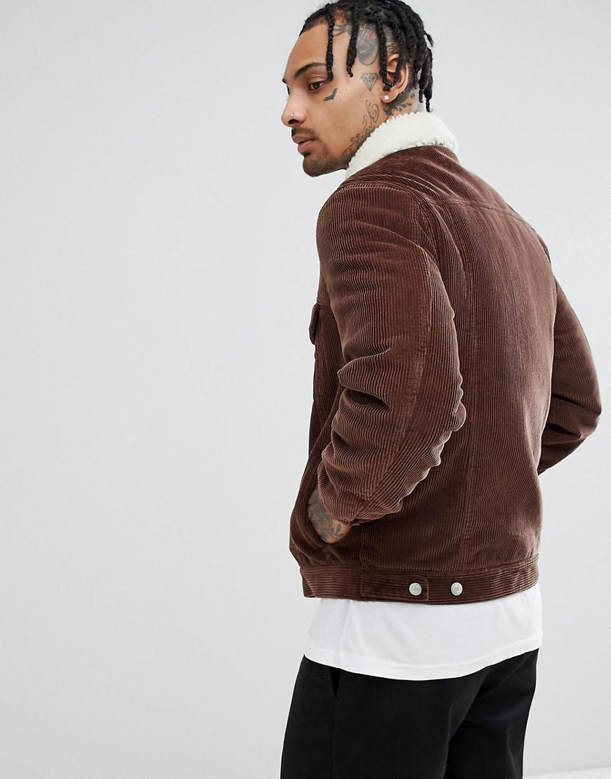 ASOS Denim Cord Jacket With Borg Collar In Brown for Men