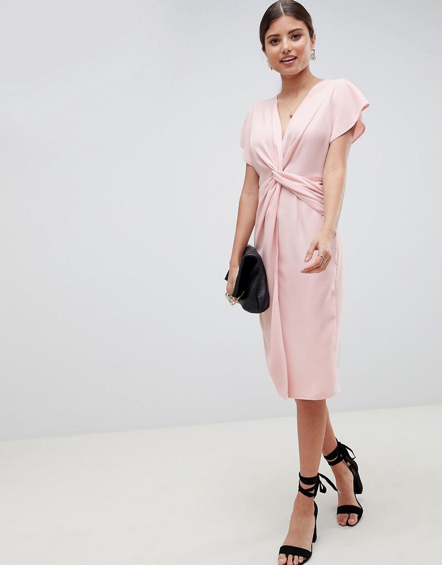 bfc944c25c389 Lyst - ASOS Twist Midi Dress With Kimono Sleeve in Pink