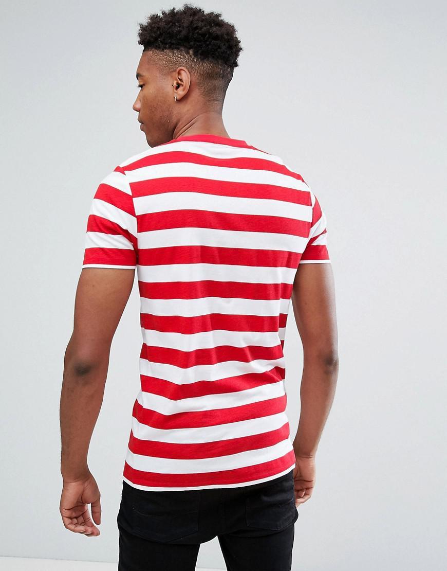 Lyst asos plus donald duck stripe t shirt in red for men for Asos design free t shirt
