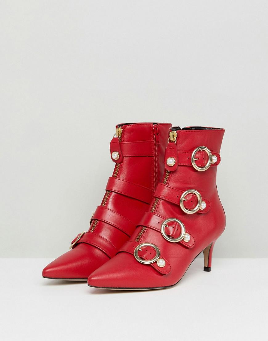 cc158fcdbb1 Women's Sparky Red Leather Kitten Heeled Ankle Boots