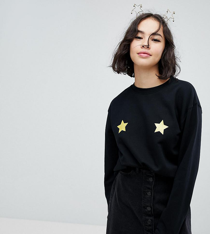 b852194799b Monki Holidays Star Sweatshirt Sweater in Black - Lyst