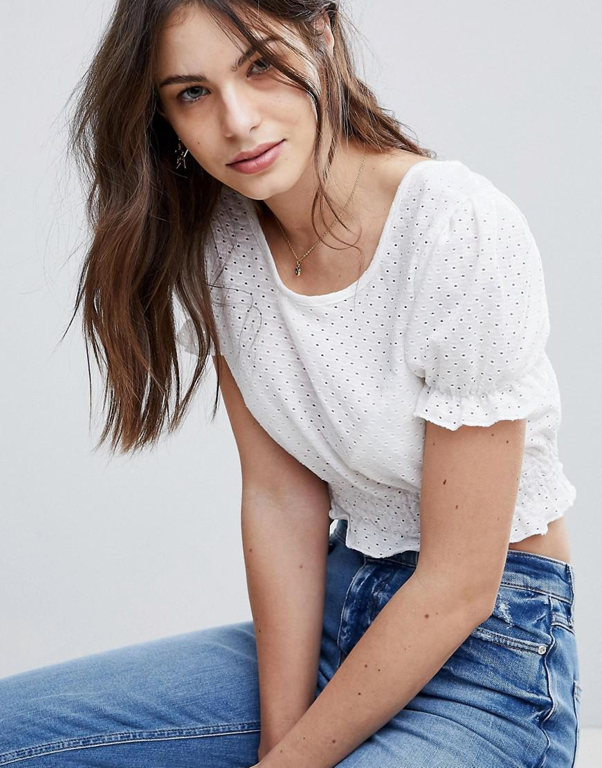 Crop Top With Puff Sleeves In Broderie - White Fashion Union Outlet Geniue Stockist LXj2C