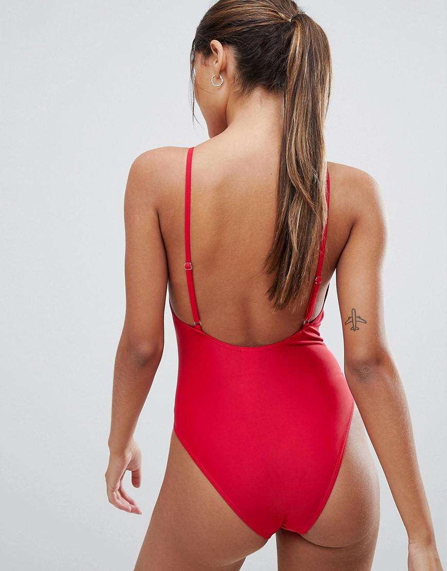 b27fea7df6bb Boohoo High Leg Swimsuit in Red - Lyst