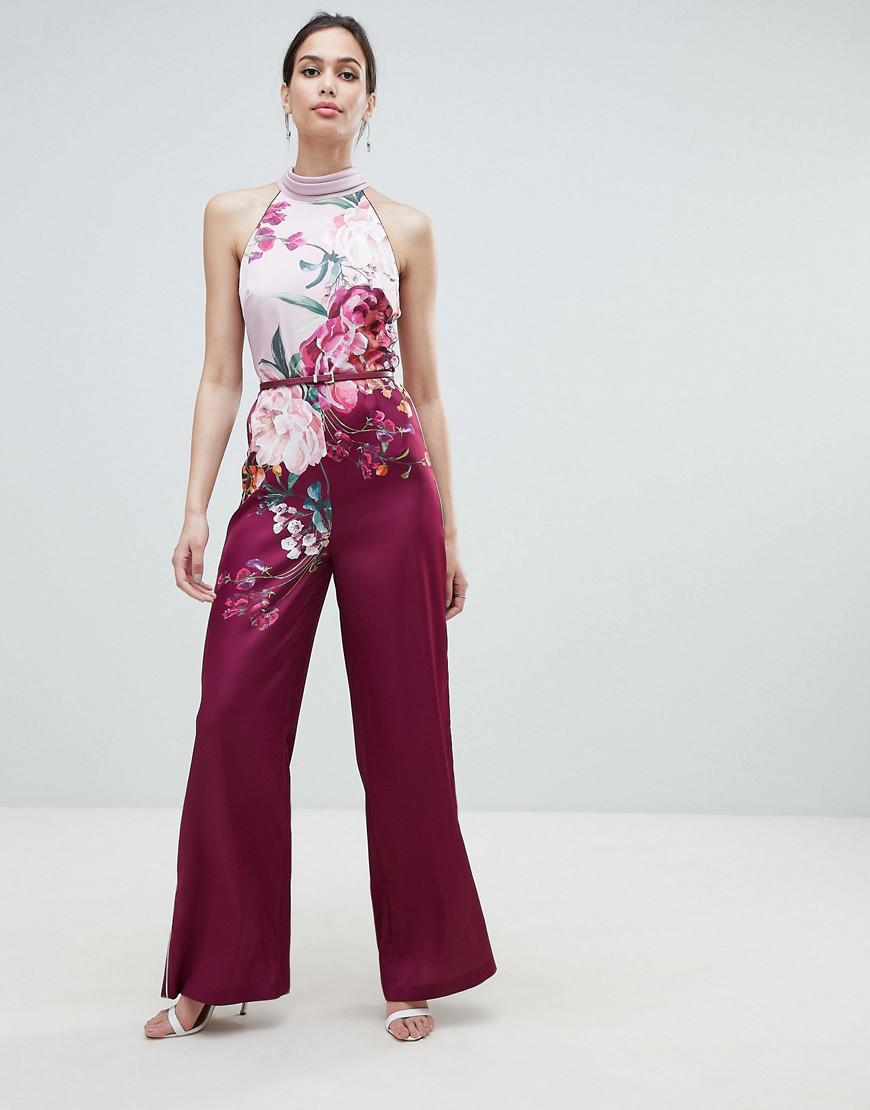abeff84903e Lyst - Ted Baker Halterneck Jumpsuit In Serenity Floral Print