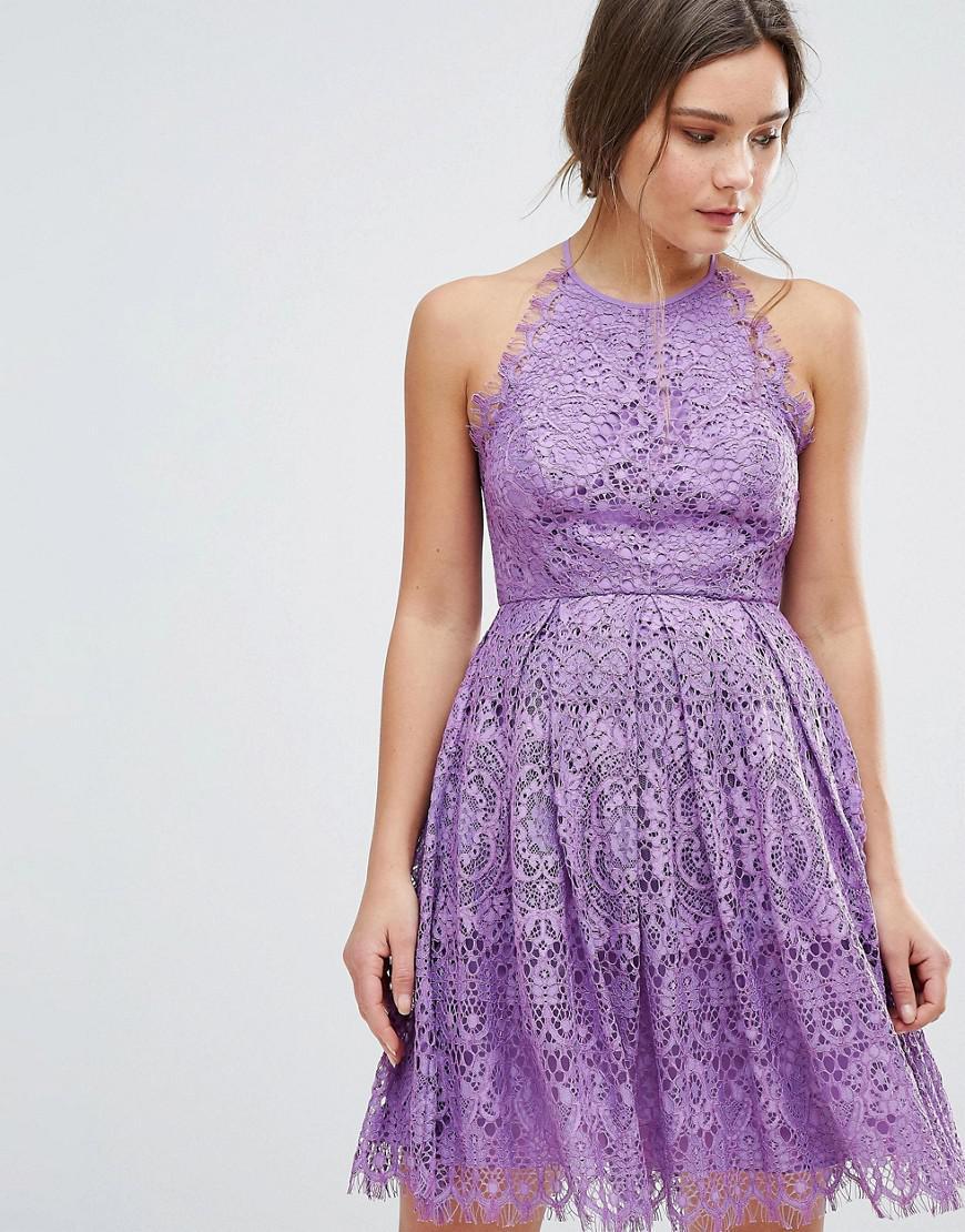 Lyst - Asos Pinny Prom Mini Dress In Lace in Purple