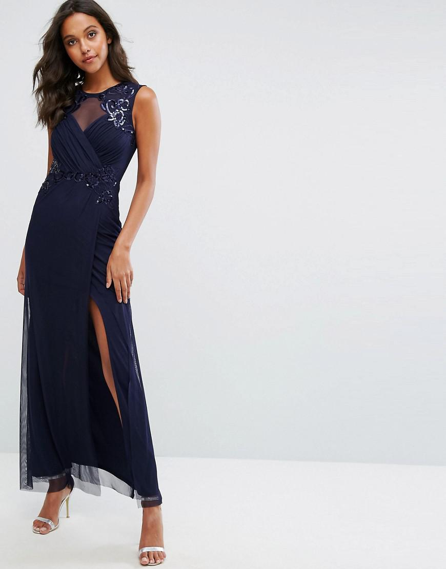 0e11f7728cc68 Lipsy Michelle Keegan Love Ruched Sequin Maxi Dress in Blue - Lyst