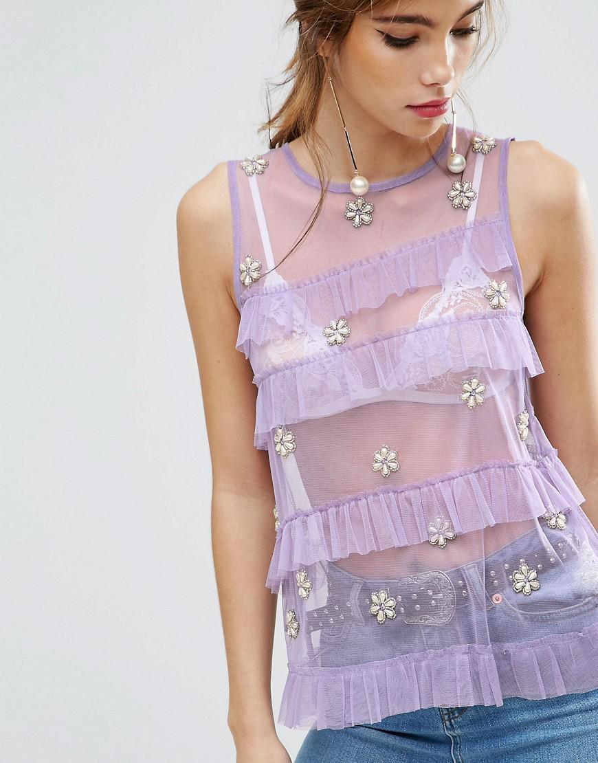 ASOS Synthetic Top In Mesh With Ruffles & Pearl Embellishment in Purple