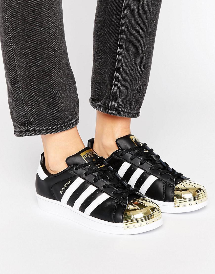 adidas Originals Originals Black Superstar Sneakers With Gold ...