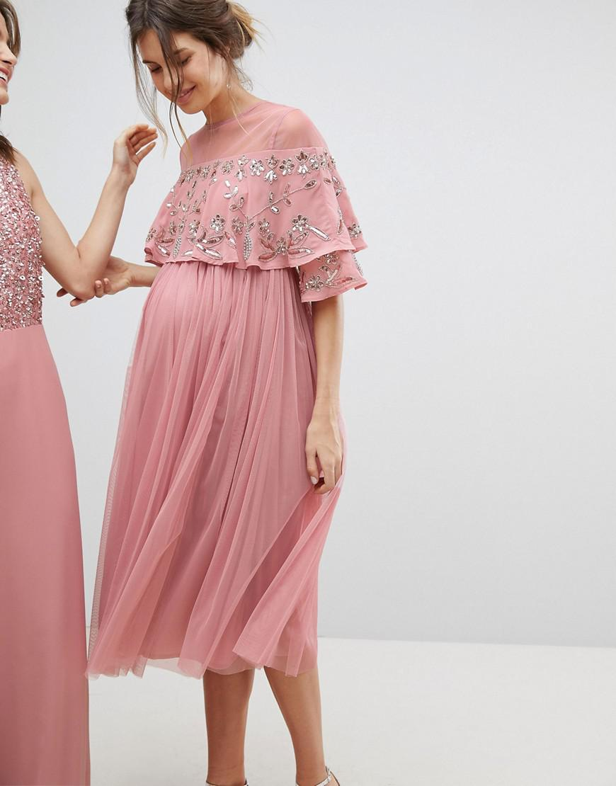 08a51497c7682 Lyst - Maya Maternity Sheer Detail Sequin Cape Overlay Detail Midi Dress in  Pink