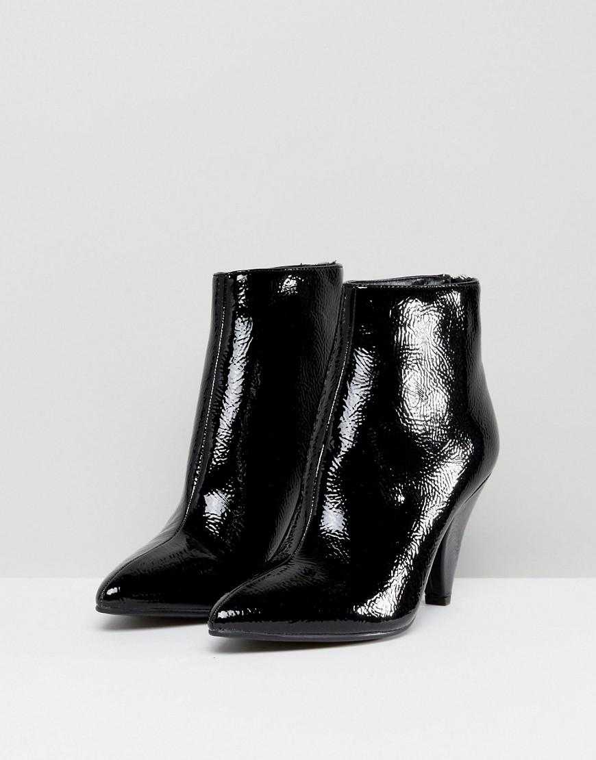 c3955fe3777 New Look Black Patent Cone Heel Pointed Ankle Boot