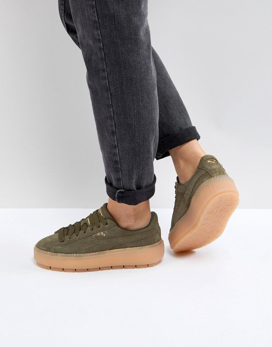 online store 495bf 20379 PUMA Platform Trace Trainers In Khaki in Green - Lyst