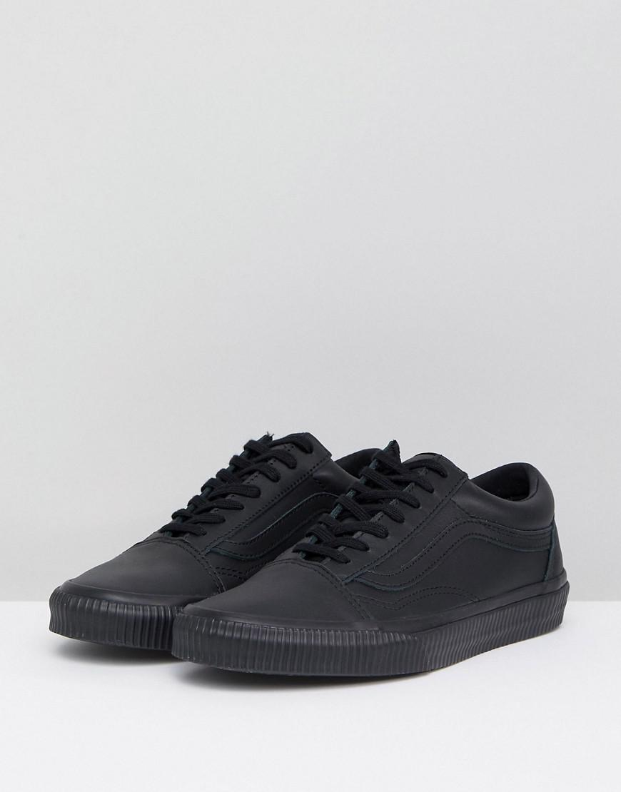 ec8a2d3618a Vans Black Leather Old Skool Trainers With Embossed Sole in Black - Lyst