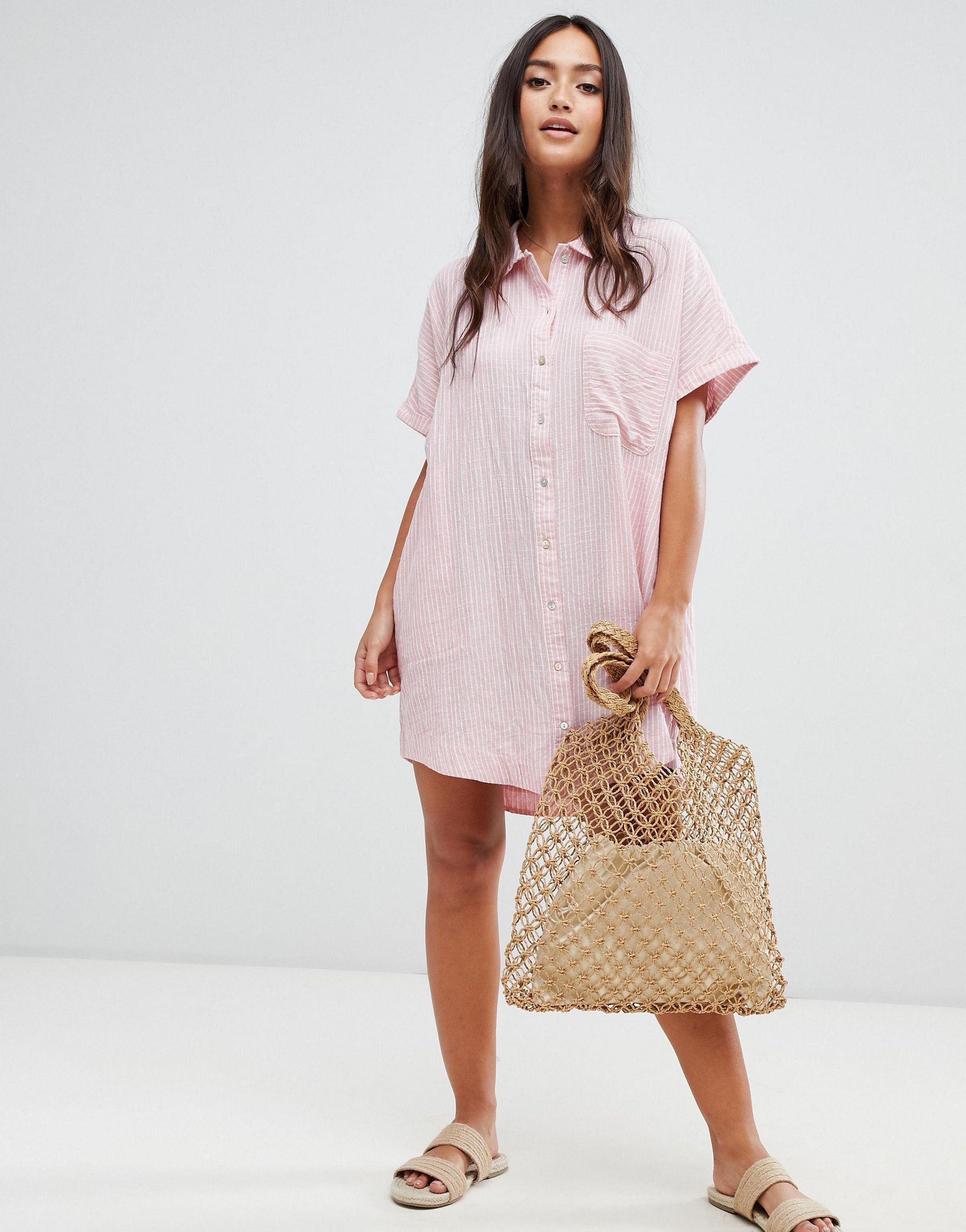 Rhythm �?Samoa �?Strand-Hemdkleid mit Nadelstreifen in Pink