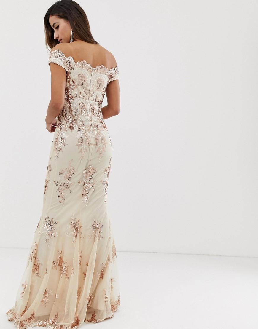 fa4dd6b4e27 Goddiva Off Shoulder Bardot Placement Lace Maxi Dress In Blush And Gold -  Lyst