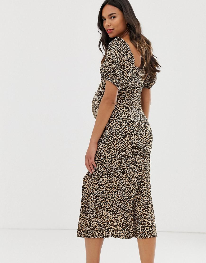 d11c0b1a4c5d1 ASOS Asos Design Maternity Exclusive Animal Print Textured Midi Dress With  Puff Sleeves - Lyst