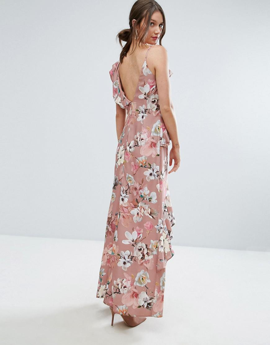 31456910bf2fa ASOS Dusky Floral Ruffle Cami Maxi Dress in Pink - Lyst