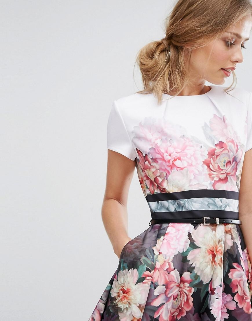 140c54c7ecfd4 Ted Baker Painted Posie Border Skater Dress - Lyst