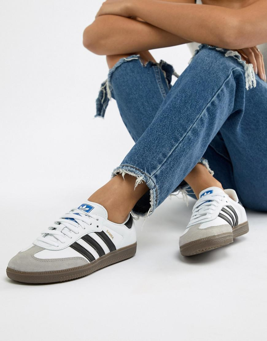 4c8d5e9f0820 Adidas Originals Samba Og Trainers In White And Black - Lyst