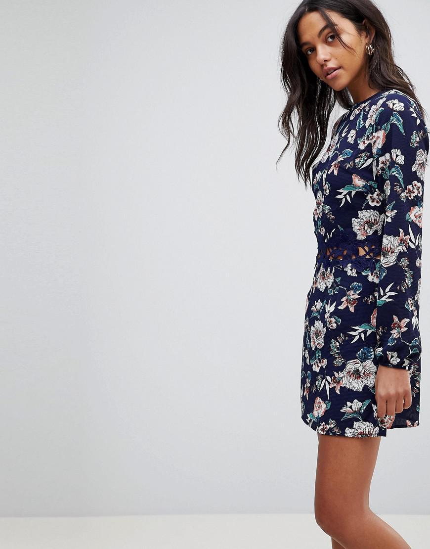 5c3d831499b8 AX Paris Floral Shift Dress With Crochet in Blue - Lyst