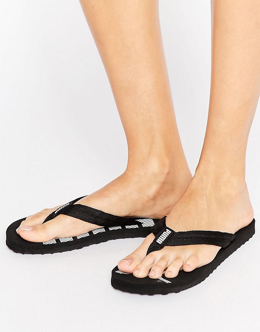 fb443c4995eb37 Lyst - Puma Logo Flip Flop Sandals In Black in Black