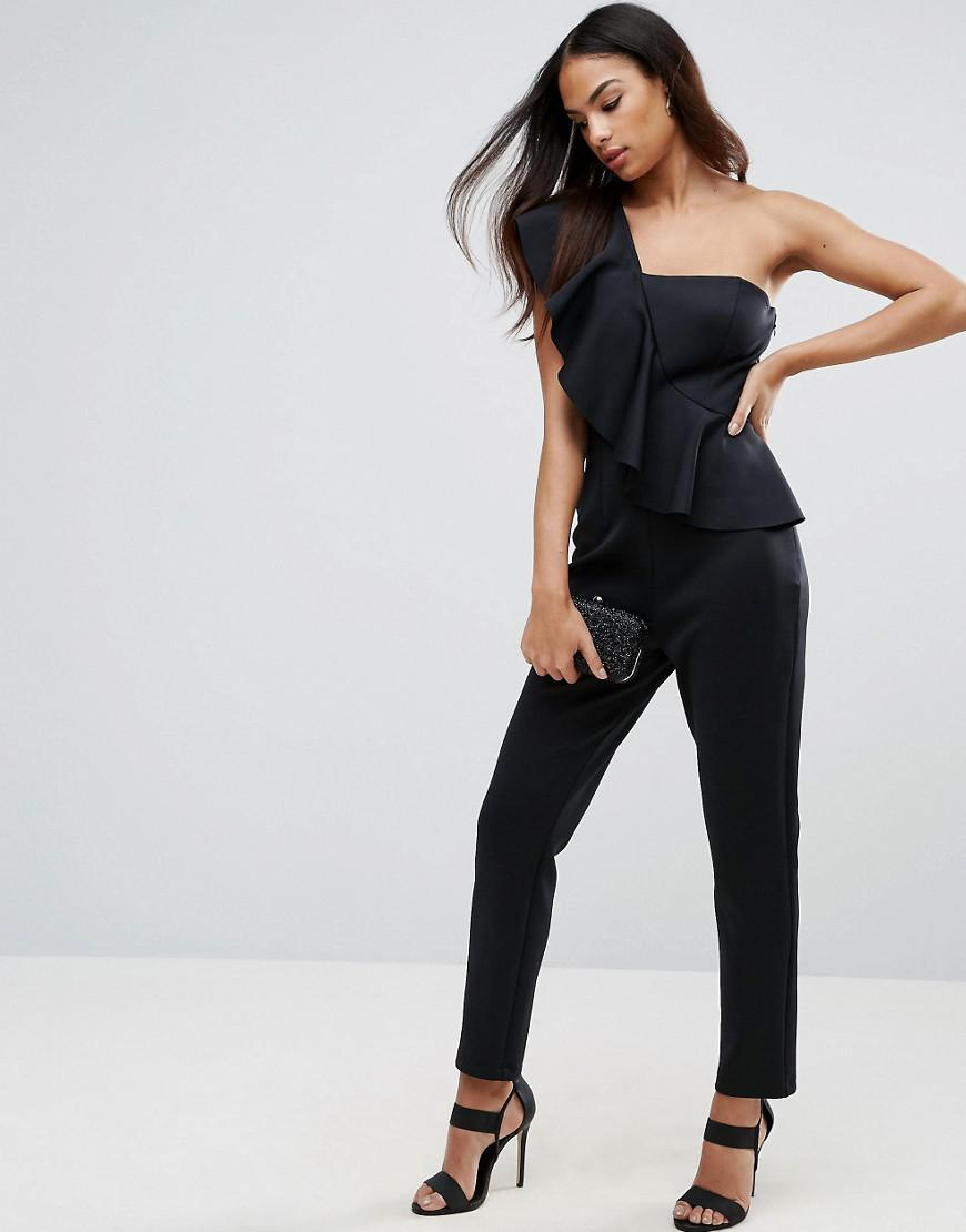 Lyst Asos Jumpsuit In Scuba With One Shoulder Ruffle In