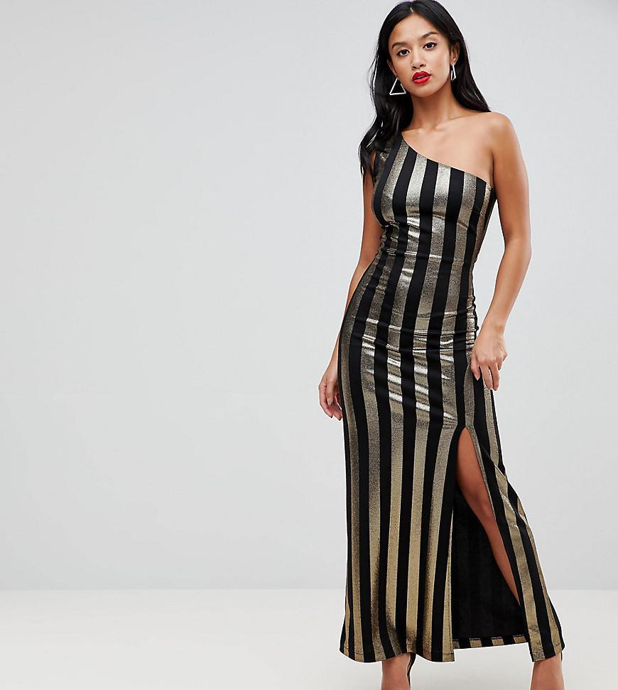 21d88207642b John Zack One Shoulder Contrast Stripe Maxi Dress in Black - Lyst