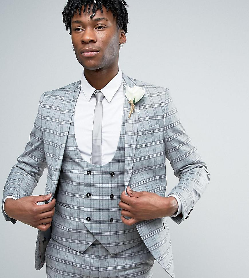 Noose And Monkey Super Skinny Wedding Suit Jacket In Check in Gray ...