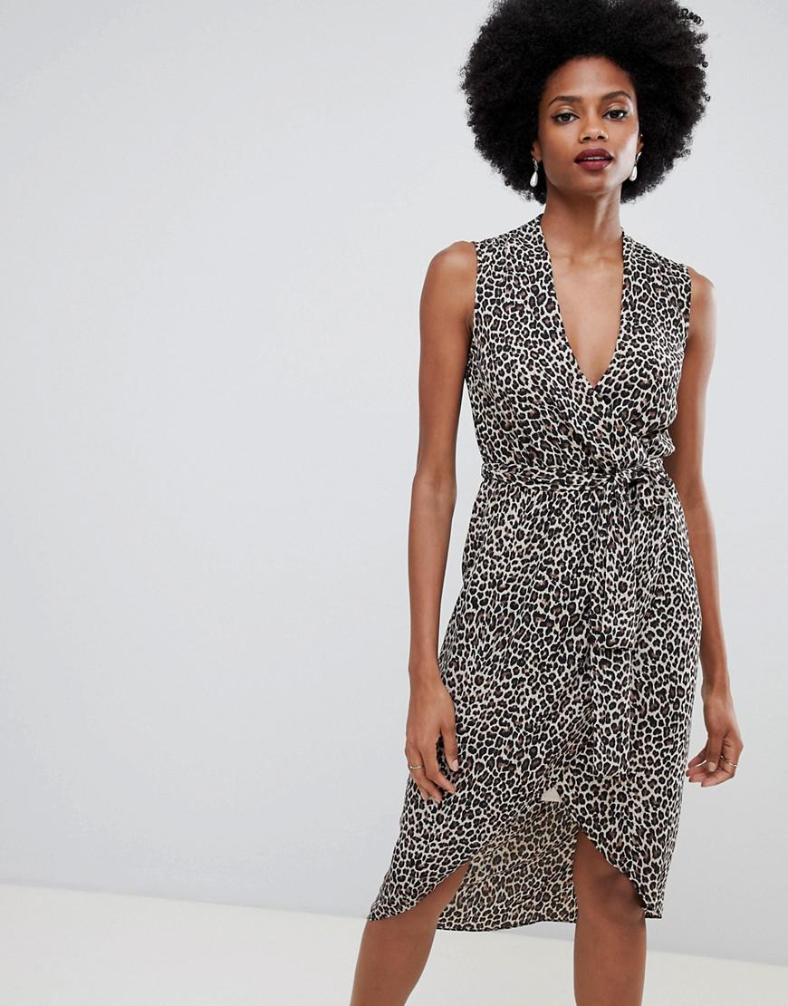 8f72c36cad Oasis. Women s Wrap Front Midi Dress In Animal Print
