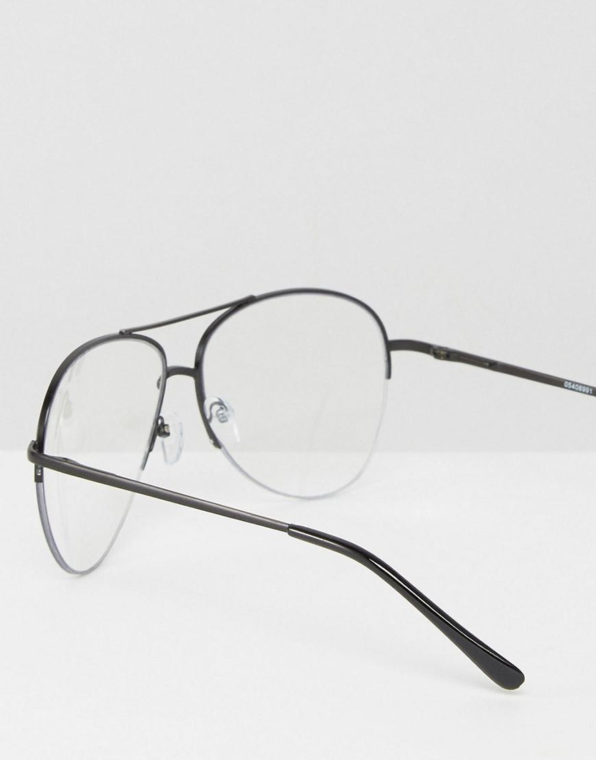 Lyst Asos Half Frame Geeky Clear Lens Metal Aviator