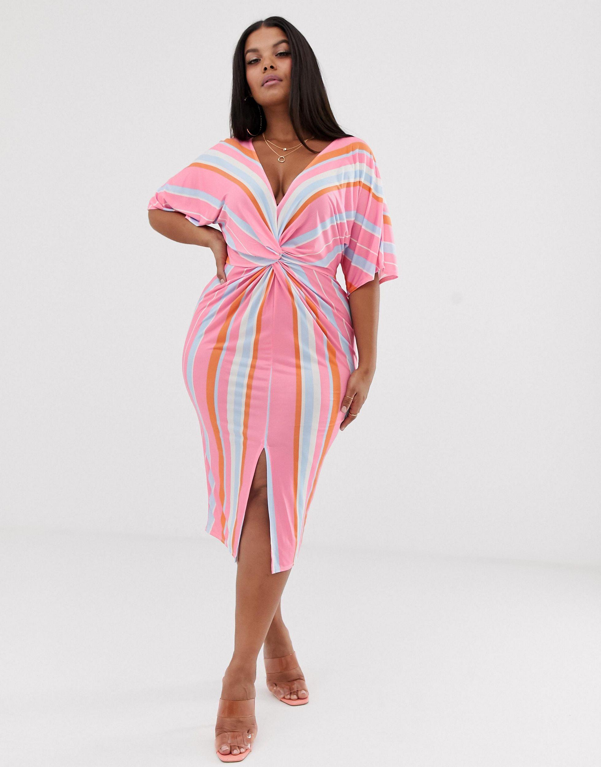Vestido midi a rayas con detalle retorcido en la parte delantera Missguided de Tejido sintético de color Rosa
