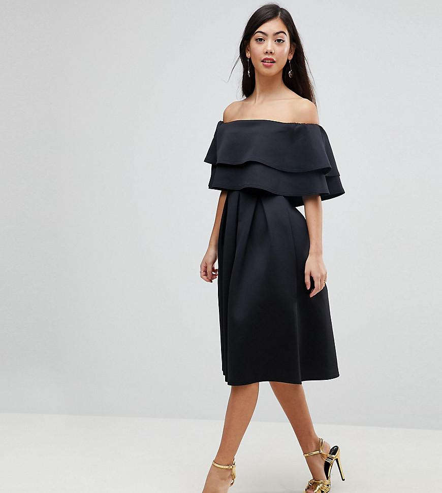 Asos Denim Ruffle Off Shoulder Midi Dress In Black Lyst