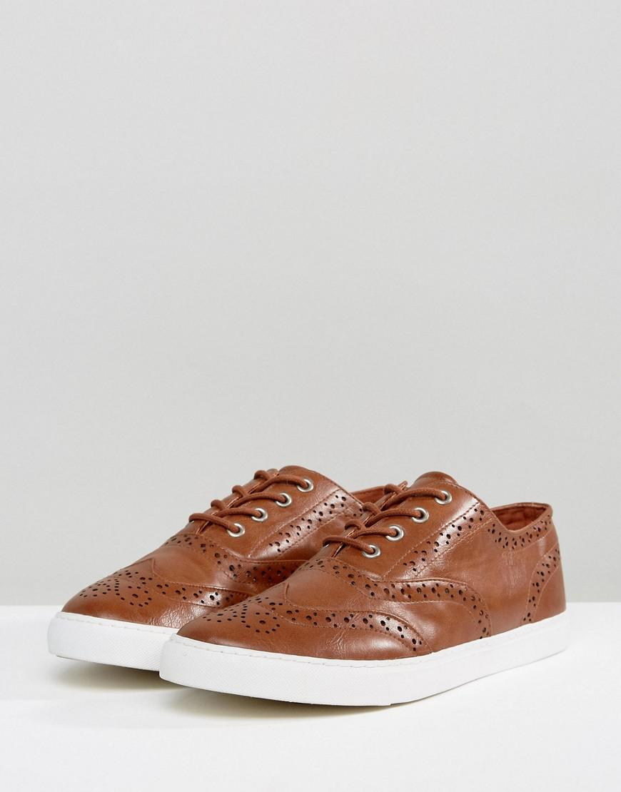 ASOS Wide Fit Brogue Shoes In Tan in Brown for Men