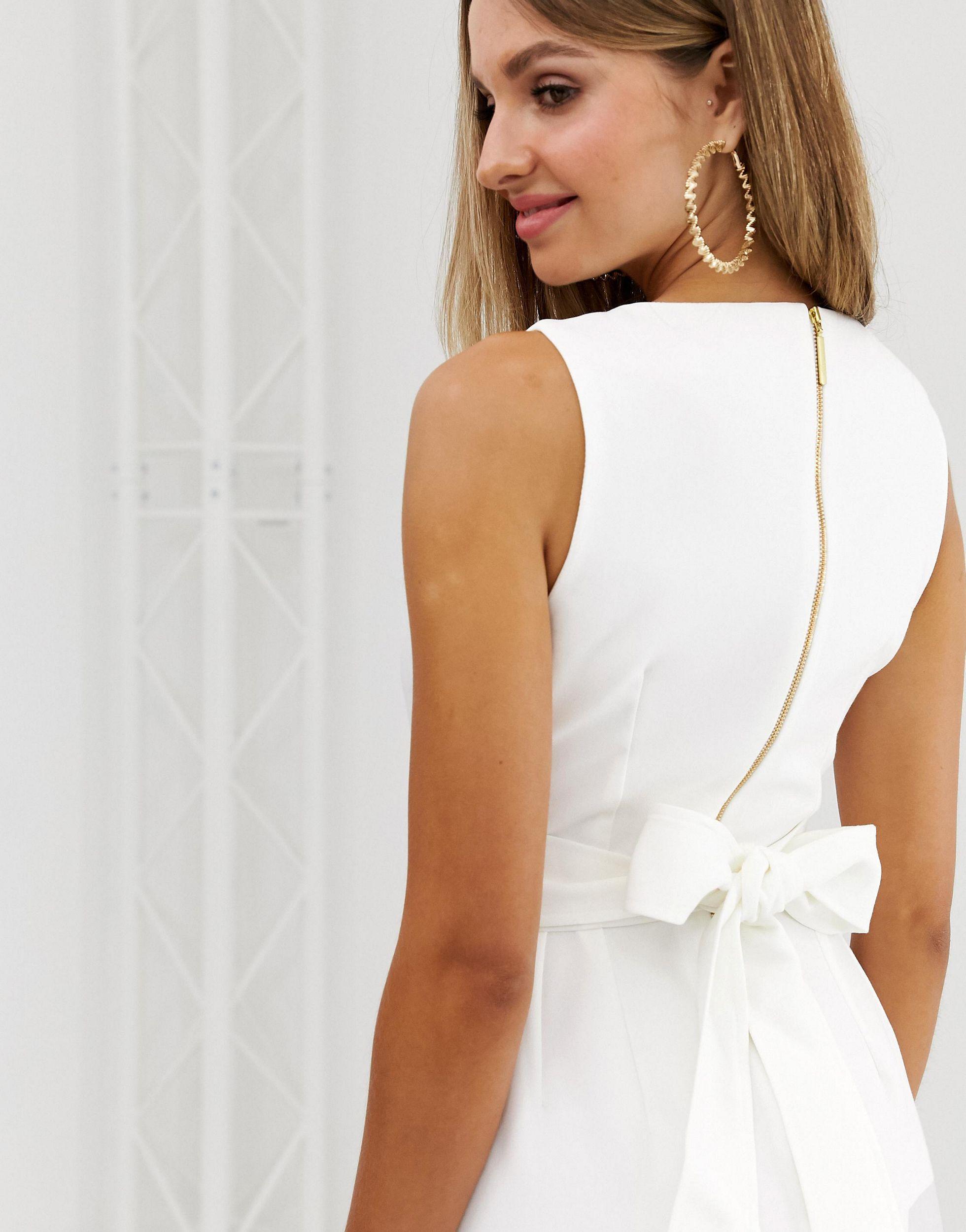 Closet - Robe à fente sur le devant nouée dans le dos Synthétique Closet en coloris Blanc