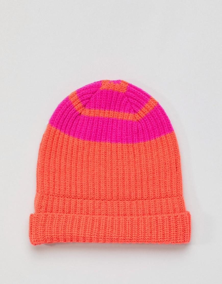 6670365e06f PS by Paul Smith Block Stripe Wool Beanie In Orange in Orange for Men - Lyst