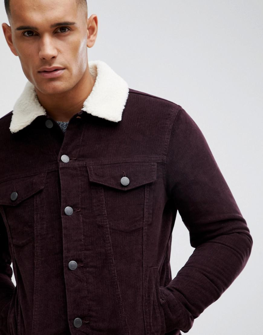 700064d1274 New Look - Red Corduroy Jacket With Borg Lining In Burgundy for Men - Lyst.  View fullscreen