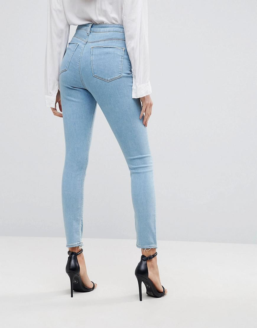 ASOS Denim Ridley High Waist Skinny Jeans In Bright Light Stone Wash in Blue